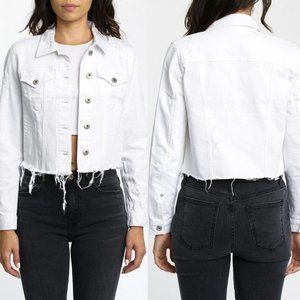 Pistola Naya Raw Edge Cropped White Jean Jacket, S